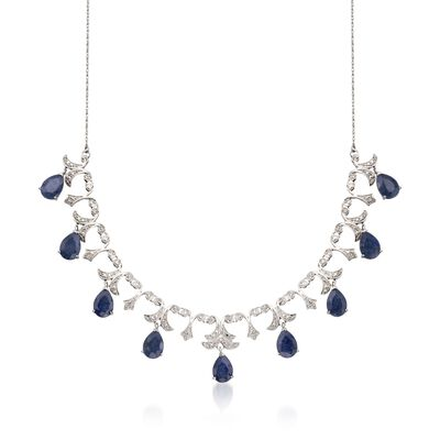 20.00 ct. t.w. Sapphire and .28 ct. t.w. Diamond Necklace in Sterling Silver, , default