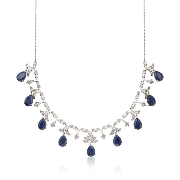 20.00 ct. t.w. Sapphire and .28 ct. t.w. Diamond Necklace in Sterling Silver