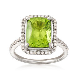 C. 2000 Vintage 4.33 Carat Peridot and .50 ct. t.w. Diamond Cocktail Ring in 18kt White Gold, , default