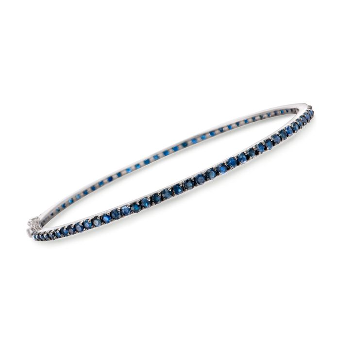 5.25 ct. t.w. Sapphire Eternity Bangle Bracelet in Sterling Silver. 7.5""