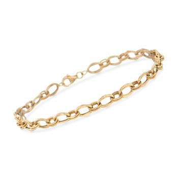 "14kt Yellow Gold Textured and Polished Oval-Link Bracelet. 8"", , default"