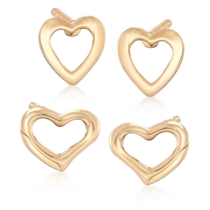 Mom & Me Open Heart Stud Earring Set of 2 in 14kt and 18kt Yellow Gold, , default
