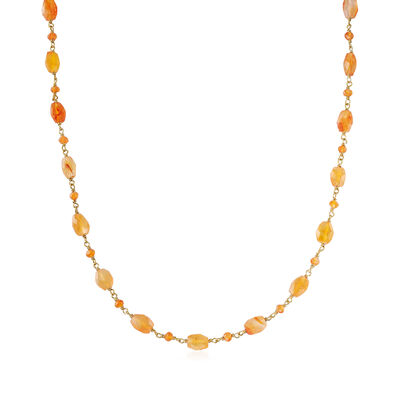 Carnelian Station Bead Necklace in 18kt Gold Over Sterling, , default