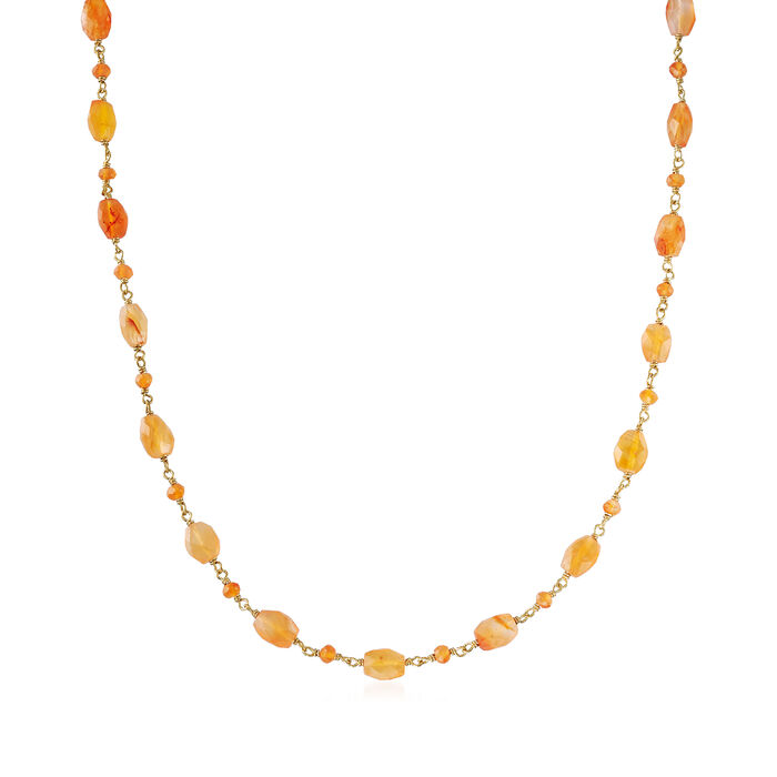 Carnelian Station Bead Necklace in 18kt Gold Over Sterling