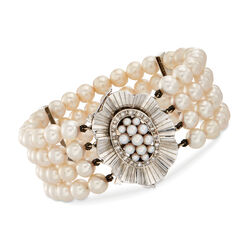 "C. 1960 Vintage 2.5-3.5mm and 9.5mm Cultured Pearl and .65 ct. t.w. Diamond Bracelet in 18kt White Gold. 7.5"", , default"