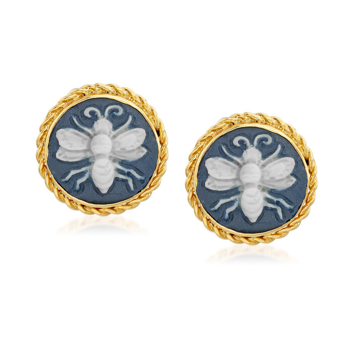 Porcelain Cameo Bee Earrings in 18kt Gold Over Sterling, , default