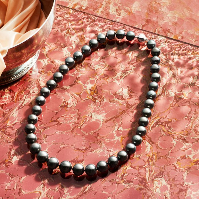 10-12mm Black Cultured Tahitian Pearl Necklace with 14kt White Gold