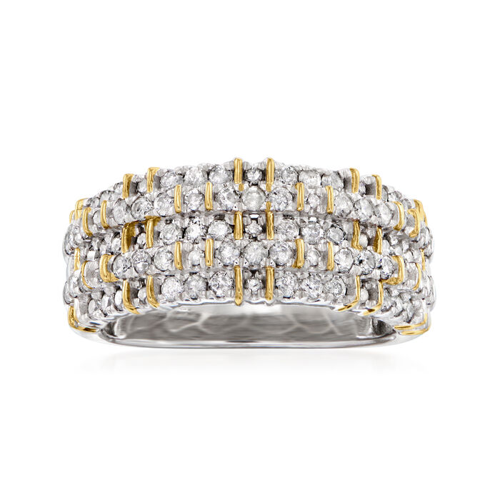 1.00 ct. t.w. Diamond Ring in Sterling Silver with 18kt Gold Over Sterling