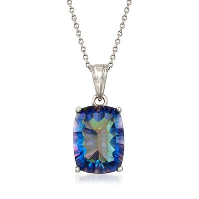 8.75 Carat Blue Quartz Pendant Necklace in Sterling Silver, , default