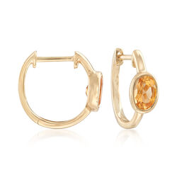 ".80 ct. t.w. Bezel-Set Oval Citrine Hoop Earrings in 14kt Yellow Gold. 1/2"", , default"