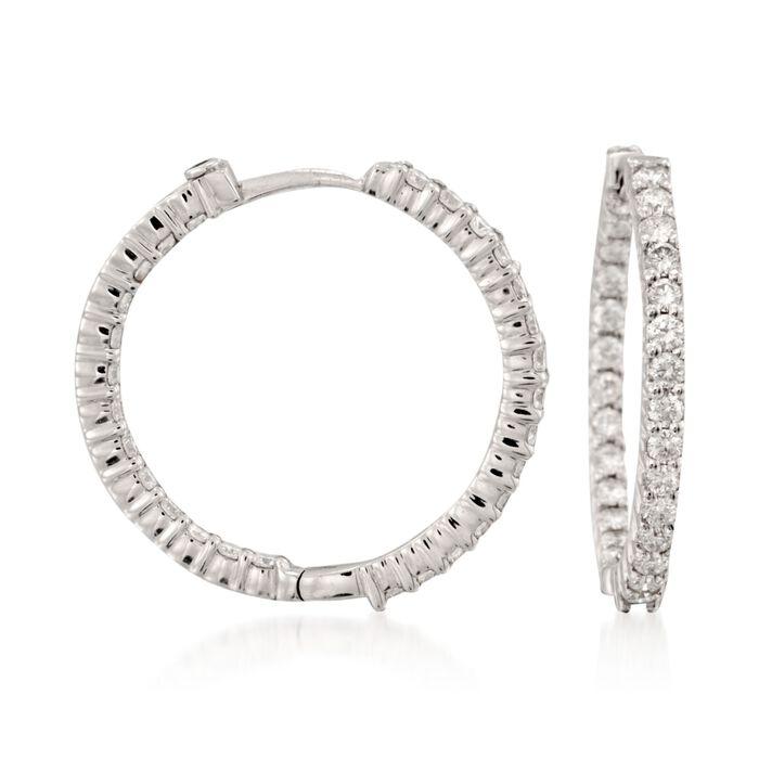 "Roberto Coin 1.55 ct. t.w. Diamond Inside-Outside Hoop Earrings in 18kt White Gold. 1"", , default"