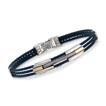 "ALOR Men's Blue Stainless Steel Cable Bracelet With 18kt Yellow Gold. 7.75"", , default"