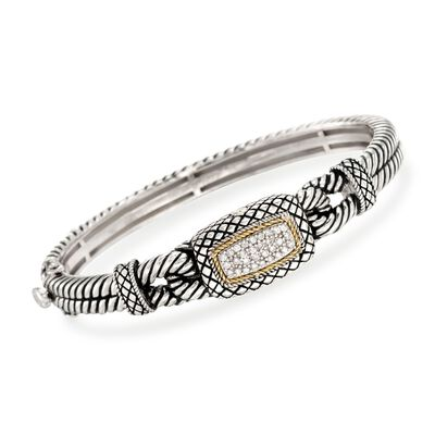Andrea Candela .27 ct. t.w. Pave Diamond Bangle Bracelet with 18kt Yellow Gold in Sterling Silver