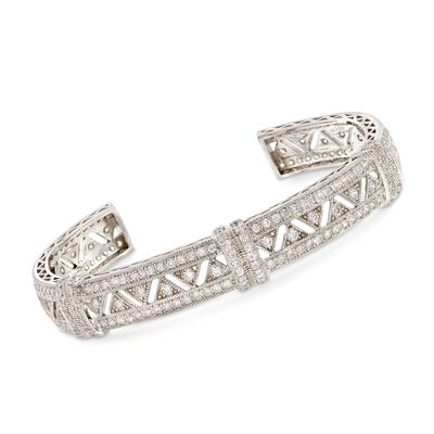 4.40 ct. t.w. CZ Openwork Zigzag Cuff Bracelet in Sterling Silver, , default