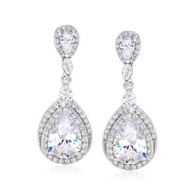 4.70 ct. t.w. CZ Pear-Shaped Drop Earrings in Sterling Silver, , default