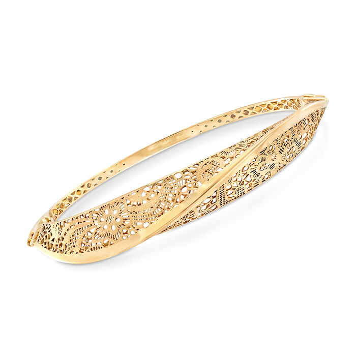 Italian 14kt Yellow Gold Floral Filigree Twisted Bangle Bracelet, , default