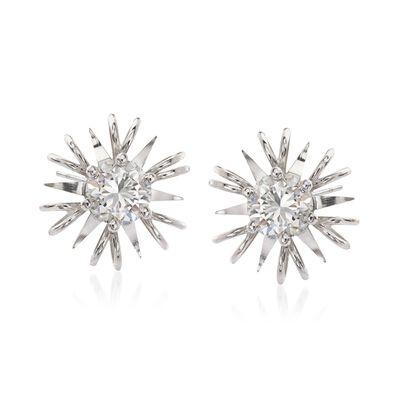 C. 1990 Vintage 1.05 ct. t.w. Diamond Burst Earrings in 18kt White Gold, , default
