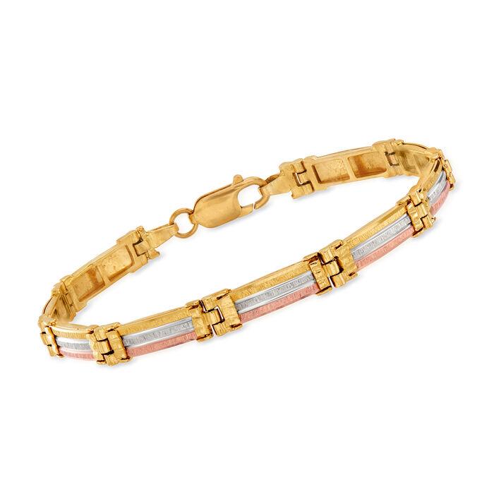 """C. 1990 Vintage 14kt Tri-Colored Gold Link Bracelet. 7"""", , default"""