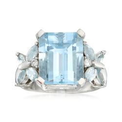 C. 1980 Vintage 6.80 ct. t.w. Aquamarine Butterfly Ring in 14kt White Gold, , default