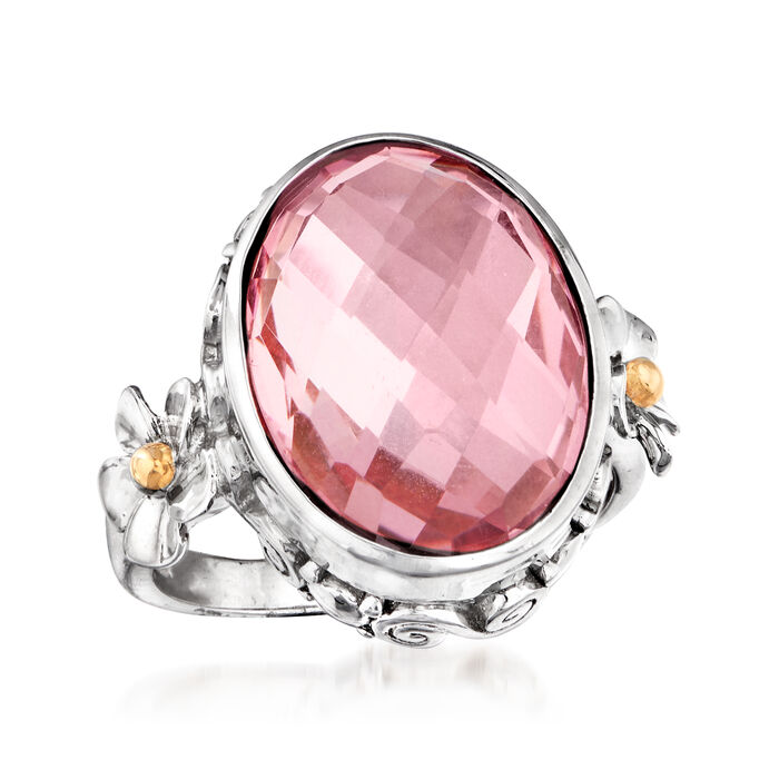 7.00 Carat Pink Quartz Floral Ring in Sterling Silver with 14kt Yellow Gold