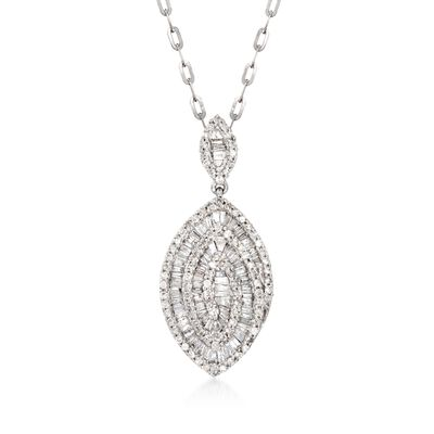 .89 ct. t.w. Baguette and Round Diamond Pendant in 14kt White Gold, , default