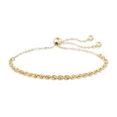 14kt Yellow Gold Rope Chain Bolo Bracelet, , default