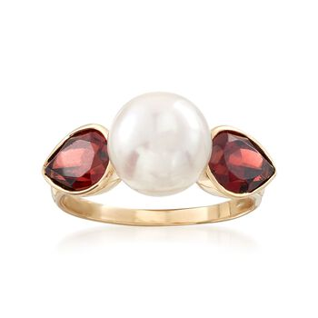 3.10 ct. t.w. Garnet and 9-9.5mm Cultured Pearl Ring in 14kt Yellow Gold, , default