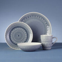 Fez Gray Stoneware 16-pc. Service for 4 Dinnerware Set , , default