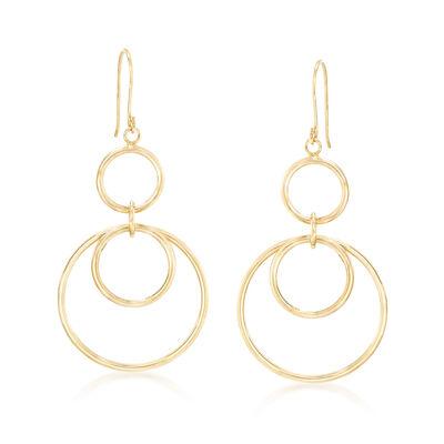 14kt Yellow Gold Open Multi-Circle Drop Earrings, , default