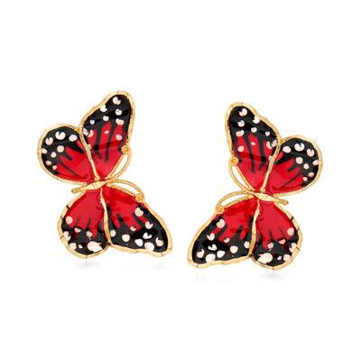Italian Multicolored Enamel Butterfly Stud Earrings in 18kt Yellow Gold, , default