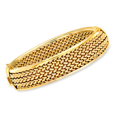 Italian 14kt Yellow Gold Tessere Bangle Bracelet, , default