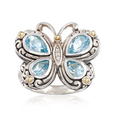 2.40 ct. t.w. Blue Topaz Bali-Style Butterfly Ring with White Topaz and 14kt Gold Accents in Sterling Silver, , default