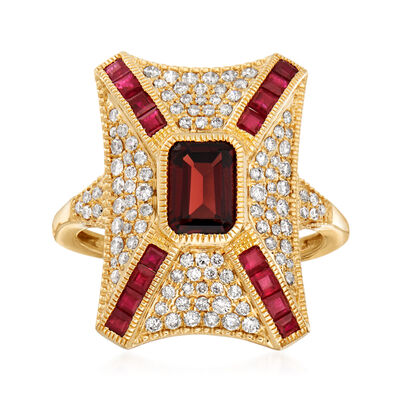 1.40 Carat Garnet and .80 ct. t.w. Ruby Ring with .60 ct. t.w. Diamonds in 14kt Yellow Gold