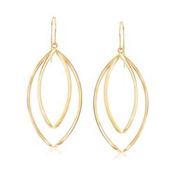 14kt Yellow Gold Double Oval Twisted Drop Earrings, , default