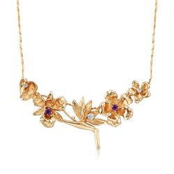 "C. 1990 Vintage .20 ct. t.w. Amethyst and .16 ct. t.w. Diamond Hawaiian Floral Motif Necklace in 14kt Gold. 16"", , default"