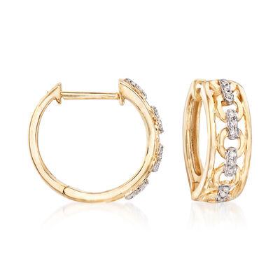 14kt Yellow Gold Openwork Hoop Earrings with Diamond Accents, , default