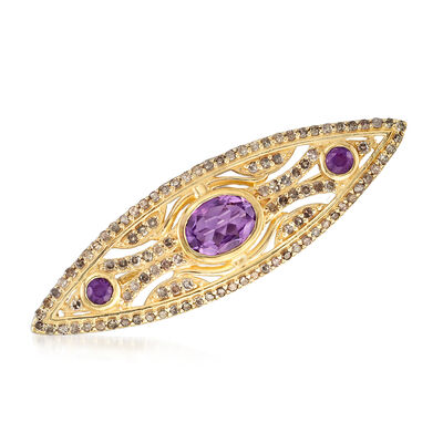1.20 ct. t.w. Amethyst and 1.00 ct. t.w. Champagne Diamond Marquise-Shaped Pin in 18kt Gold Over Sterling, , default