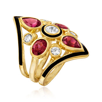4.70 ct. t.w. Rhodolite Garnet and 1.70 ct. t.w. White Zircon Ring in 18kt Gold Over Sterling, , default