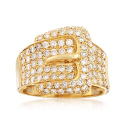 C. 1990 Vintage 1.22 ct. t.w. Diamond Buckle Ring in 18kt Yellow Gold. Size 7, , default