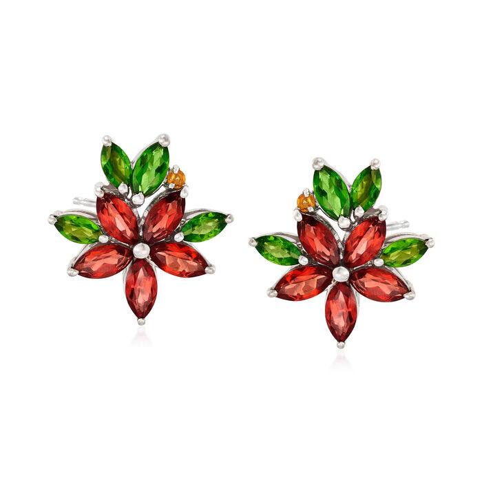 2.52 ct. t.w. Multi-Stone Flower Earrings in Sterling Silver