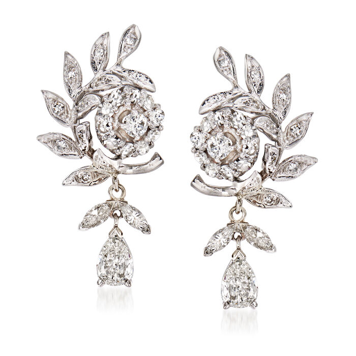 C. 1970 Vintage 3.75 ct. t.w. Diamond Floral Drop Earrings in 14kt White Gold
