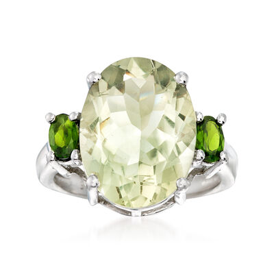 8.00 ct. t.w. Green Prasiolite and .40 ct. t.w. Diopside Ring in Sterling Silver, , default