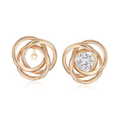 14kt Yellow Gold Open Swirl Earring Jackets, , default