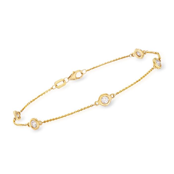 "C. 1990 Vintage .50 ct. t.w. Bezel-Set Diamond Station Bracelet in 14kt Yellow Gold. 7.5"", , default"