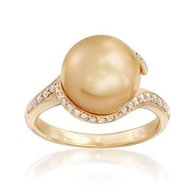 Mikimoto 11mm Golden South Sea Pearl and .25 ct. t.w. Diamond Ring in 18kt Yellow Gold, , default