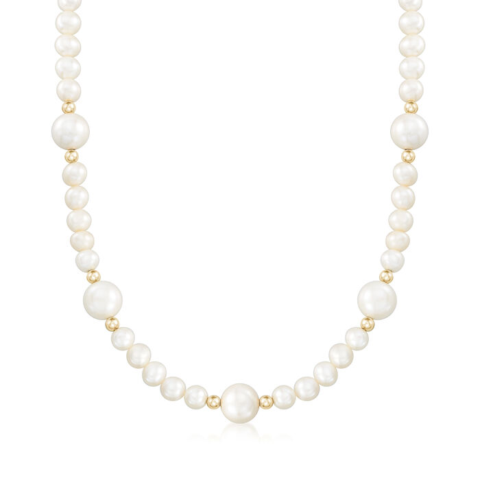 6.5-11mm Cultured Pearl Station Necklace with 14kt Yellow Gold, , default