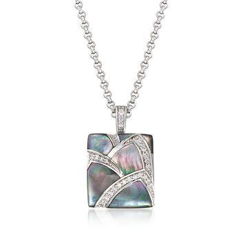 """Belle Etoile """"Sirena"""" Black Mother-Of-Pearl and .30 ct. t.w. CZ Pendant in Sterling Silver, , default"""