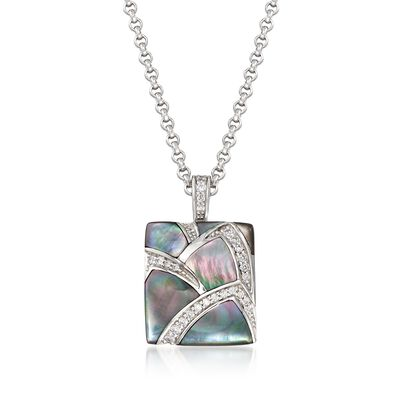 "Belle Etoile ""Sirena"" Black Mother-Of-Pearl and .30 ct. t.w. CZ Pendant in Sterling Silver  , , default"