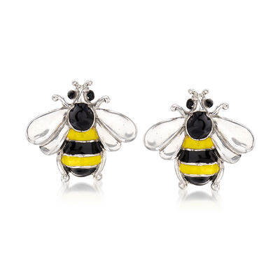 Italian Enamel Bee Earrings in Sterling Silver, , default