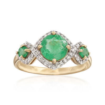 1.30 ct. t.w. Emerald and .17 ct. t.w. Diamond Three-Stone Ring in 14kt Yellow Gold, , default